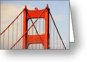 Landmarks Greeting Cards - Golden Gate Bridge - Nothing equals its majesty Greeting Card by Christine Till