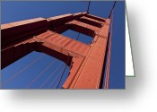 Towers Greeting Cards - Golden Gate Bridge at an angle Greeting Card by Garry Gay
