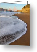 Suspension Bridge Greeting Cards - Golden Gate Bridge At Sunset Greeting Card by Sean Stieper