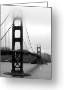 Suspension Bridge Greeting Cards - Golden Gate Bridge Greeting Card by Federica Gentile