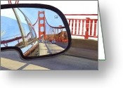 Golden Gate Painting Greeting Cards - Golden Gate Bridge in Side View Mirror Greeting Card by Mary Helmreich