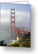 Suspension Bridge Greeting Cards - Golden Gate Bridge in the fog Greeting Card by Mathew Lodge