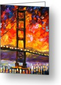 Afremov Greeting Cards - Golden Gate Bridge  Greeting Card by Leonid Afremov