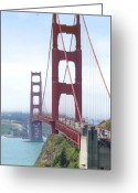 Golden Digital Art Greeting Cards - Golden Gate Bridge Greeting Card by Mike McGlothlen