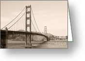 Suspension Bridge Greeting Cards - Golden Gate Bridge San Francisco - A thirty-five million dollar steel harp Greeting Card by Christine Till