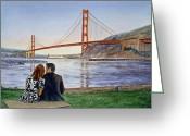 Watercolor By Irina Greeting Cards - Golden Gate Bridge San Francisco - Two Love Birds Greeting Card by Irina Sztukowski