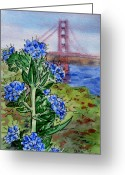 Golden Gate Painting Greeting Cards - Golden Gate Bridge San Francisco Greeting Card by Irina Sztukowski