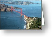 Aerial View Greeting Cards - Golden Gate Bridge Greeting Card by Stickney Design
