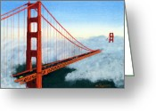 Golden Gate Painting Greeting Cards - Golden Gate Bridge Sunset Greeting Card by Mike Robles