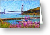 Ggbridge Greeting Cards - Golden Gate Bridge Viewed From Fort Baker Greeting Card by Wingsdomain Art and Photography