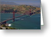 Marin Greeting Cards - Golden Gate Greeting Card by Donna Blackhall