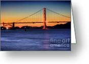 Night Scene Greeting Cards - Golden Gate Dusk Greeting Card by Mars Lasar