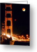 Lunar Eclipse Greeting Cards - Golden Gate Night Greeting Card by DJ Florek