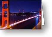 Alcatraz Greeting Cards - Golden Gate Nightshot Greeting Card by Laszlo Rekasi