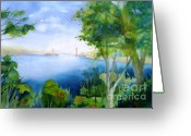 Blues And Greens Greeting Cards - Golden Gate San Francisco Greeting Card by Maryann Schigur