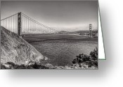 West Greeting Cards - Golden Gate Sepia Greeting Card by Scott Norris