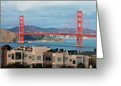 San Francisco Bay Greeting Cards - Golden Gate Greeting Card by Stickney Design