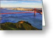 Alcatraz Greeting Cards - Golden Gate Sunset 1. 12x6 Pano Greeting Card by Laszlo Rekasi