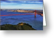 Alcatraz Greeting Cards - Golden Gate Sunset 2. 12x6 Pano Greeting Card by Laszlo Rekasi