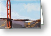Sub Greeting Cards - Golden Gate Three Greeting Card by Brad Burns