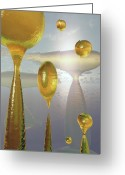 Digital Surreal Art Greeting Cards - Golden Globs Greeting Card by Richard Rizzo