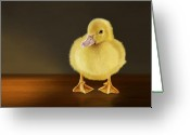 Duckling Greeting Cards - Golden Glow Greeting Card by Bob Nolin