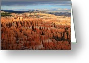 Thor Greeting Cards - Golden glow in Bryce Canyon Greeting Card by Pierre Leclerc