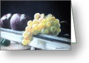 Lighting Pastels Greeting Cards - Golden Grapes with Plums Greeting Card by Laura Sullivan
