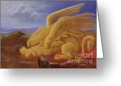 Egg Tempera Painting Greeting Cards - Golden Gryphon on Top of the Alps Greeting Card by Evelyn Cammarano