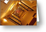 Abstract Building Greeting Cards - Golden Hall Greeting Card by Robert Harmon