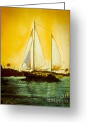 Seaside Mixed Media Greeting Cards - Golden Harbor  Greeting Card by Kip DeVore
