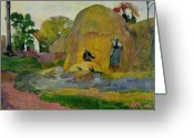 Scythe Greeting Cards - Golden Harvest Greeting Card by Paul Gauguin