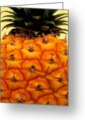 Hawaiian Food Greeting Cards - Golden Hawaiian Pineapple Greeting Card by James Temple