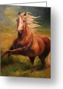 Equines Painting Greeting Cards - Golden Heart Greeting Card by Diane Williams