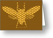 Gallery Print Greeting Cards - Golden Hex Bee Greeting Card by Karl Addison