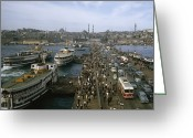 Routine Greeting Cards - Golden Horn Ferries Dock At Ramps Greeting Card by Otis Imboden