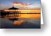 Florida Bridge Greeting Cards - Golden Hour Greeting Card by Debra and Dave Vanderlaan