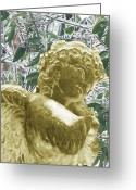 Icy Feeling Greeting Cards - Golden Ice Angel Greeting Card by Debra     Vatalaro