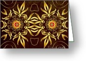 Mother Gift Greeting Cards - Golden Infinity Greeting Card by Zeana Romanovna