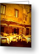 Umbrella Digital Art Greeting Cards - Golden Italian Cafe Greeting Card by Carol Groenen