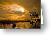 Sundown Greeting Cards - Golden Lake Greeting Card by Okan YILMAZ