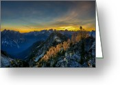Cascades Greeting Cards - Golden Larch Greeting Card by Ian Stotesbury