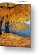 Elm Greeting Cards - Golden Leaves Greeting Card by Graham Gercken