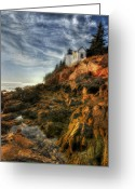 Bass Harbor Greeting Cards - Golden Light at Bass Harbor Greeting Card by Lori Deiter