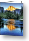 Reflection Greeting Cards - Golden Light On Half Dome Greeting Card by Mimi Ditchie Photography