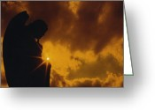 Surreal Gothic Angel Photography Greeting Cards - Golden Light Silhouette Greeting Card by Gothicolors With Crows