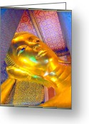 Buddha Pastels Greeting Cards - Golden Meditation Greeting Card by Satya Winkelman