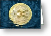 Lunar Greeting Cards - Golden moon Greeting Card by Sharon Lisa Clarke