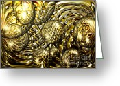 Liquid Greeting Cards - Golden Orbs Greeting Card by Cheryl Young