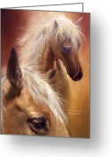 Equine Mixed Media Greeting Cards - Golden Palomino Greeting Card by Carol Cavalaris